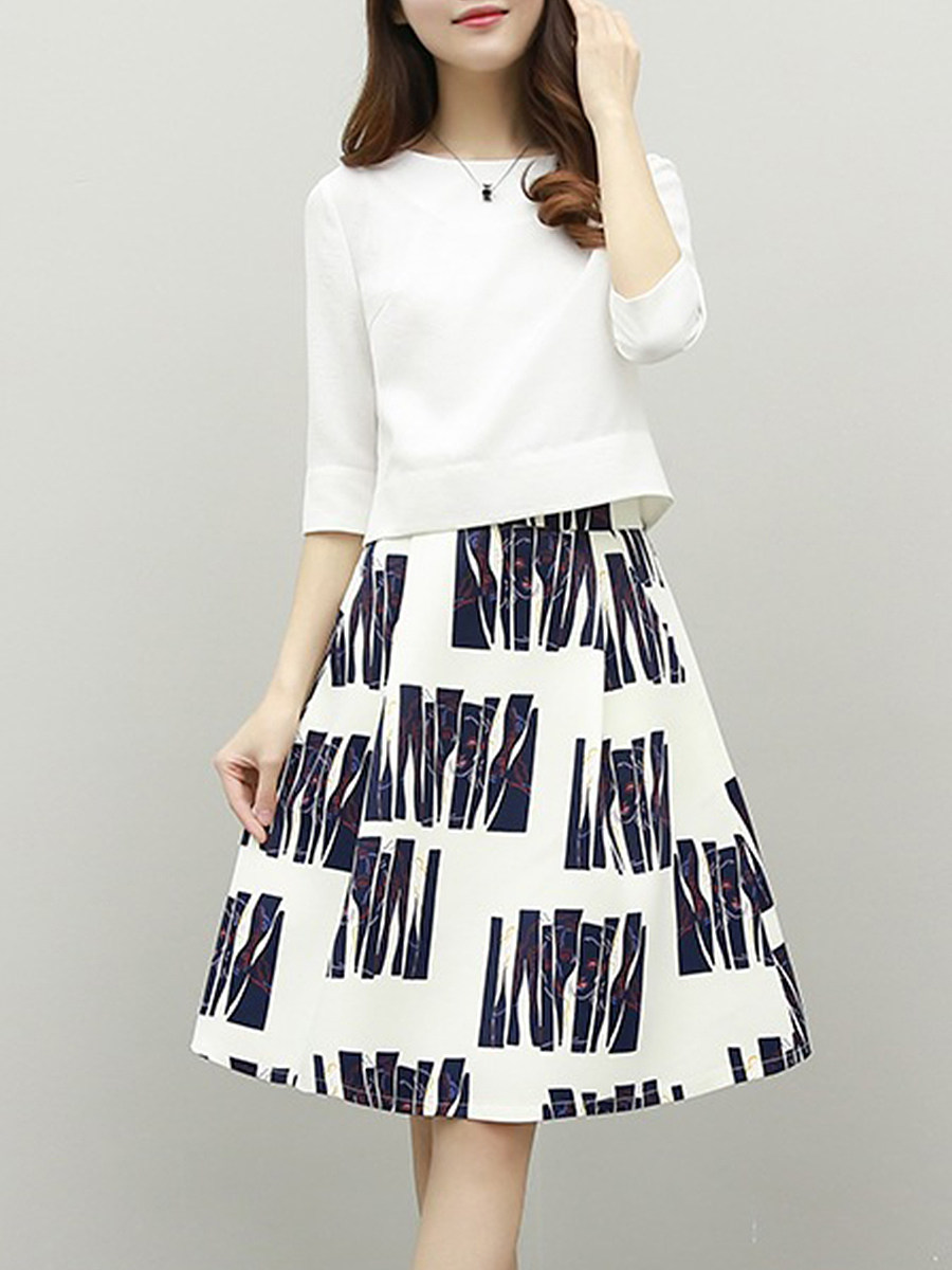 BerryLook Round Neck  Printed  Two-Piece Skater Dress