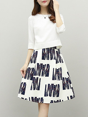 Berrylook coupon: Round Neck  Printed  Two-Piece Skater Dress