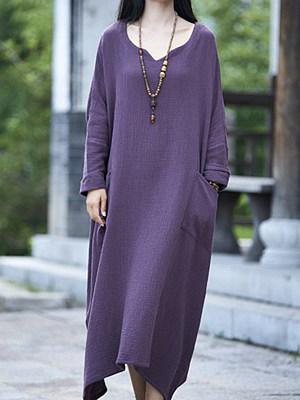 Sweet Heart Patch Pocket Plain Maxi Dress