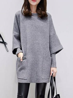 Round Neck Patch Pocket Plain Fake Two-Piece Shift Dress, 4005072