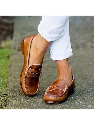 Plain Round Toe Casual Date Comfort Flats, 5648687