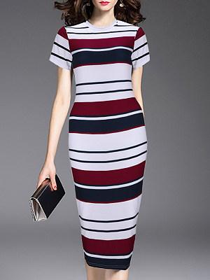 Round Neck Striped Bodycon Dress, 7171563