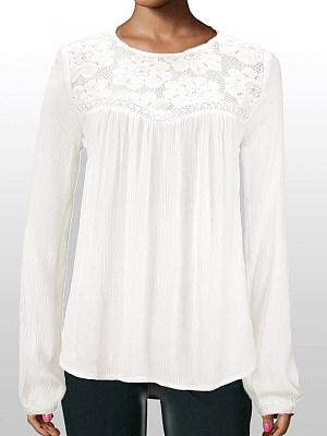 Autumn Spring Polyester Women Round Neck Decorative Lace Plain Long Sleeve Blouses