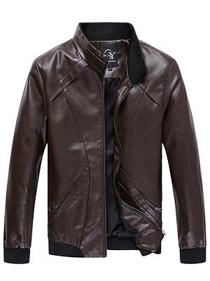 High Neck Rib Knit Cuffs Men PU Leather Jacket