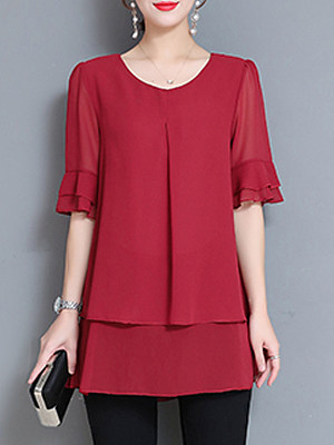 Round Neck Patchwork Elegant Plain Short Sleeve Blouse, 8410196