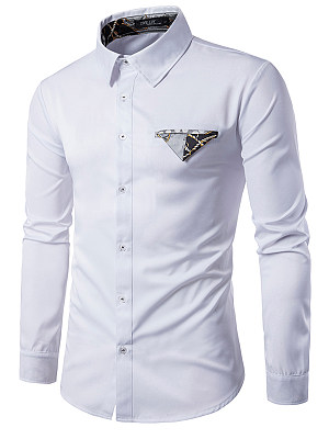 Turn Down Collar Men Printed Shirts, 3956961
