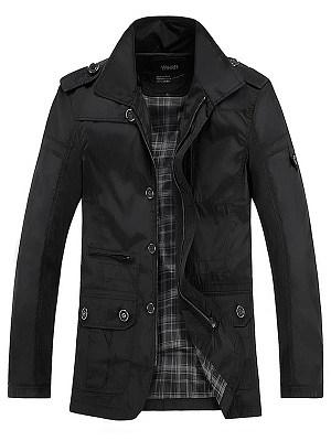 Lapel  Flap Pocket  Plain Men Coat