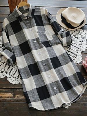 A Lapel Patchwork Casual Plaid Long Sleeve Blouse, 8639441