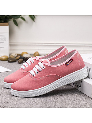 Plain Flat Round Toe Casual Sneakers, 8622630