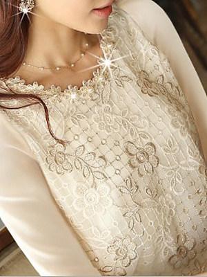 Autumn Spring Chiffon Women Round Neck Beading Decorative Lace Plain Long Sleeve Blouses