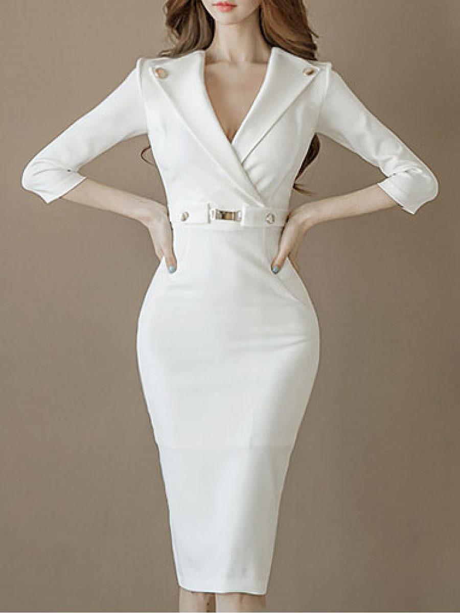 Tight Fitting Classy Dresses Surplice  Plain Bodycon Dress Trophy Wife Fashions