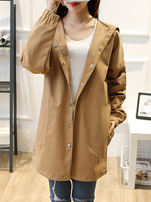Hooded Single Breasted Plain Trench Coat фото