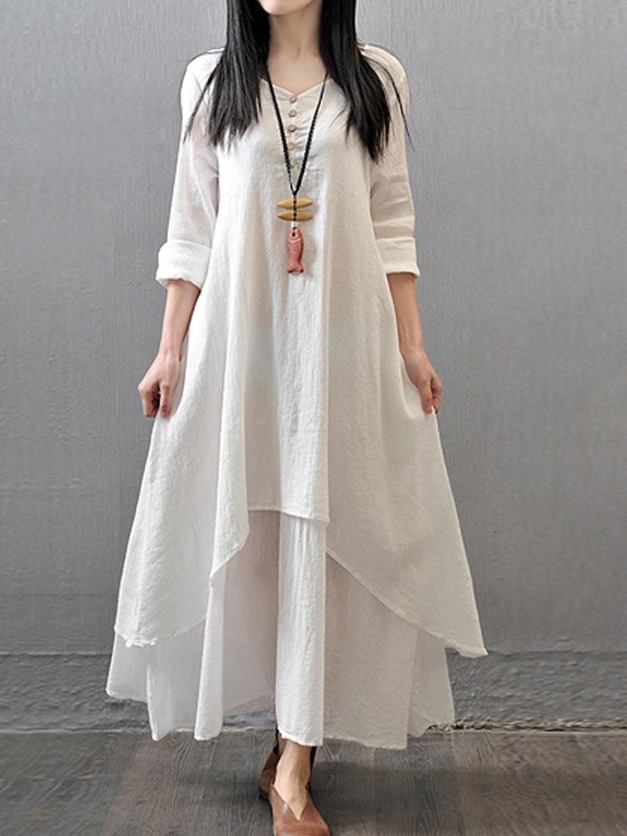 BerryLook Sweet Heart  Asymmetric Hem  Plain Maxi Dress