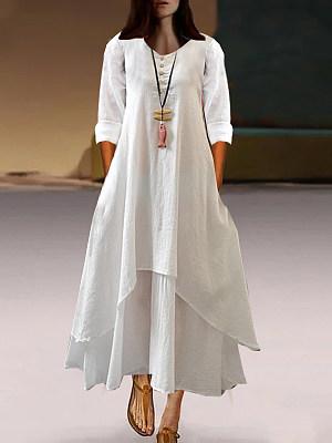 Sweet Heart Asymmetric Hem Plain Maxi Dress, 6991874