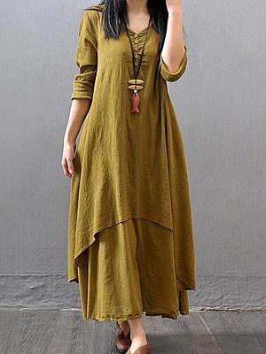 Sweet Heart Asymmetric Hem Plain Maxi Dress