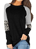 Image of Round Neck Patchwork Casual Leopard Striped Long Sleeve T-Shirt