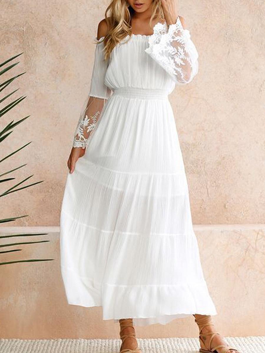 Open Shoulder Elastic Waist Patchwork Plain Maxi Dress