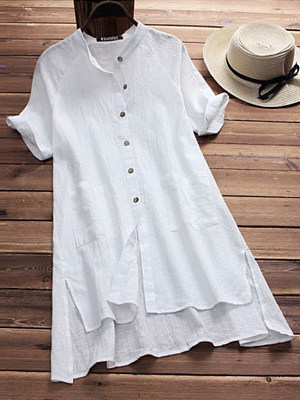 Band Collar Loose Fitting Plain Blouses, 6473961