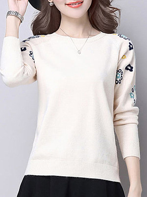 Round Neck Cute Floral Long Sleeve Knit Pullover фото