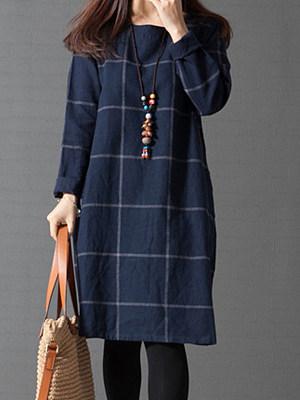 Round Neck Plaid Pocket Shift Dress фото