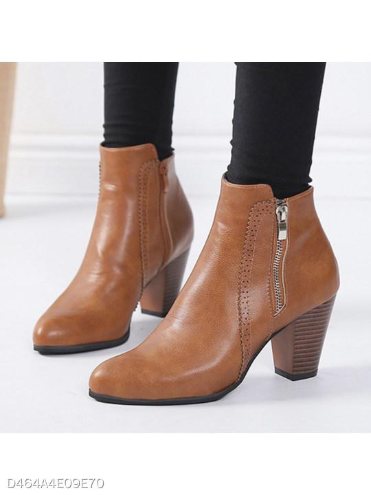 Plain Chunky High Heeled Round Toe Date Outdoor Short High Heels Boots -  berrylook.com 35530a88553e