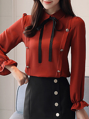 Turn Down Collar Bow Decorative Buttons Plain Bell Sleeve Blouses