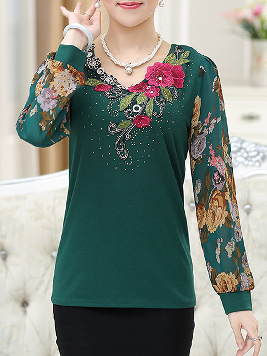 Round Neck  Embossed Design Embroidered  Floral Long Sleeve T-Shirts
