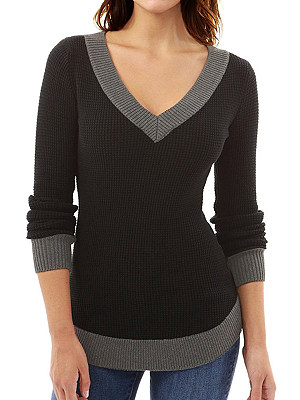 V Neck Casual Color Block Long Sleeve Knit Pullover фото