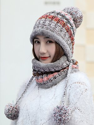 Lady Korea Style Fashion Warm Two Piece Hats For Winter, 5959245