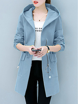 Hooded  Flap Pocket Zips  Plain  Long Sleeve Coats