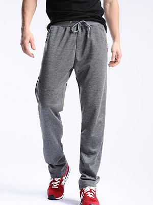 Plain Elastic Waist Straight Men's Casual Sport Pants