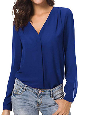 V Neck Patchwork Brief Plain Long Sleeve Blouse, 8855299