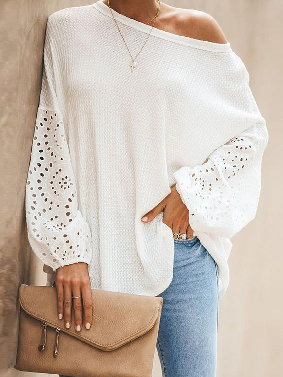 BerryLook Round  Neck  Patchwork  Elegant  Embroidery  Puff Sleeve  Long Sleeve  Knit Pullover