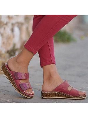 Color Block Peep Toe Date Travel Wedge Sandals, 7291597