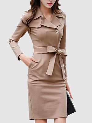 Formal Lapel Belt Solid-Color Bodycon Dress