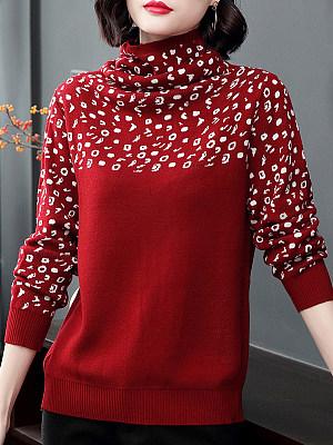 Heap Collar Casual Long Sleeve Knit Publlover, 10000989