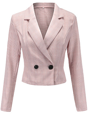 Notch Lapel Checkered Blazer фото