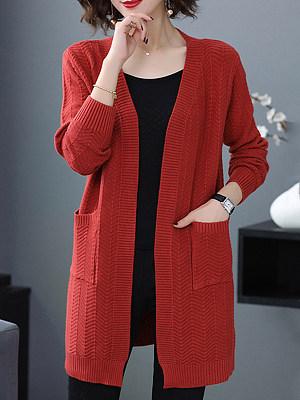 Medium Elegant Plain Long Sleeve Knit Cardigan, 9796249