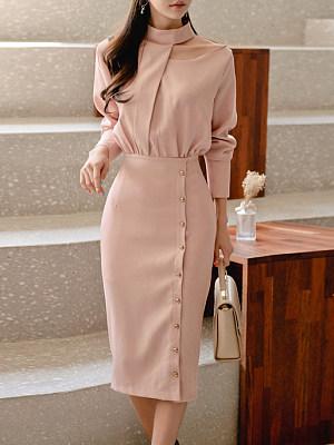 Round Neck Decorative Button Plain Bodycon Dress фото