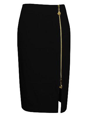 Plain Zips Slit Pencil Midi Skirt