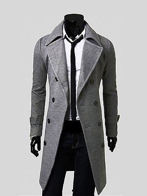 Office Lapel  Double Breasted  Plain Men Coat