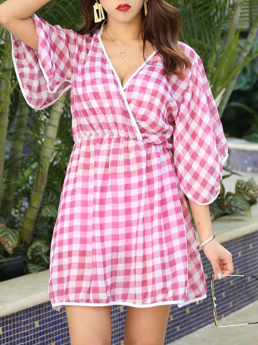 V Neck  Checkered  Bell Sleeve Tunic For Women