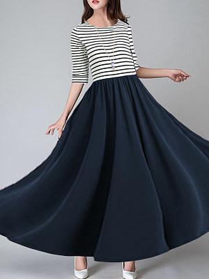 Round Neck Patch Pocket Striped Maxi Dress