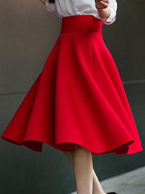 Charming Plain Flared Midi Skirt, 3909803
