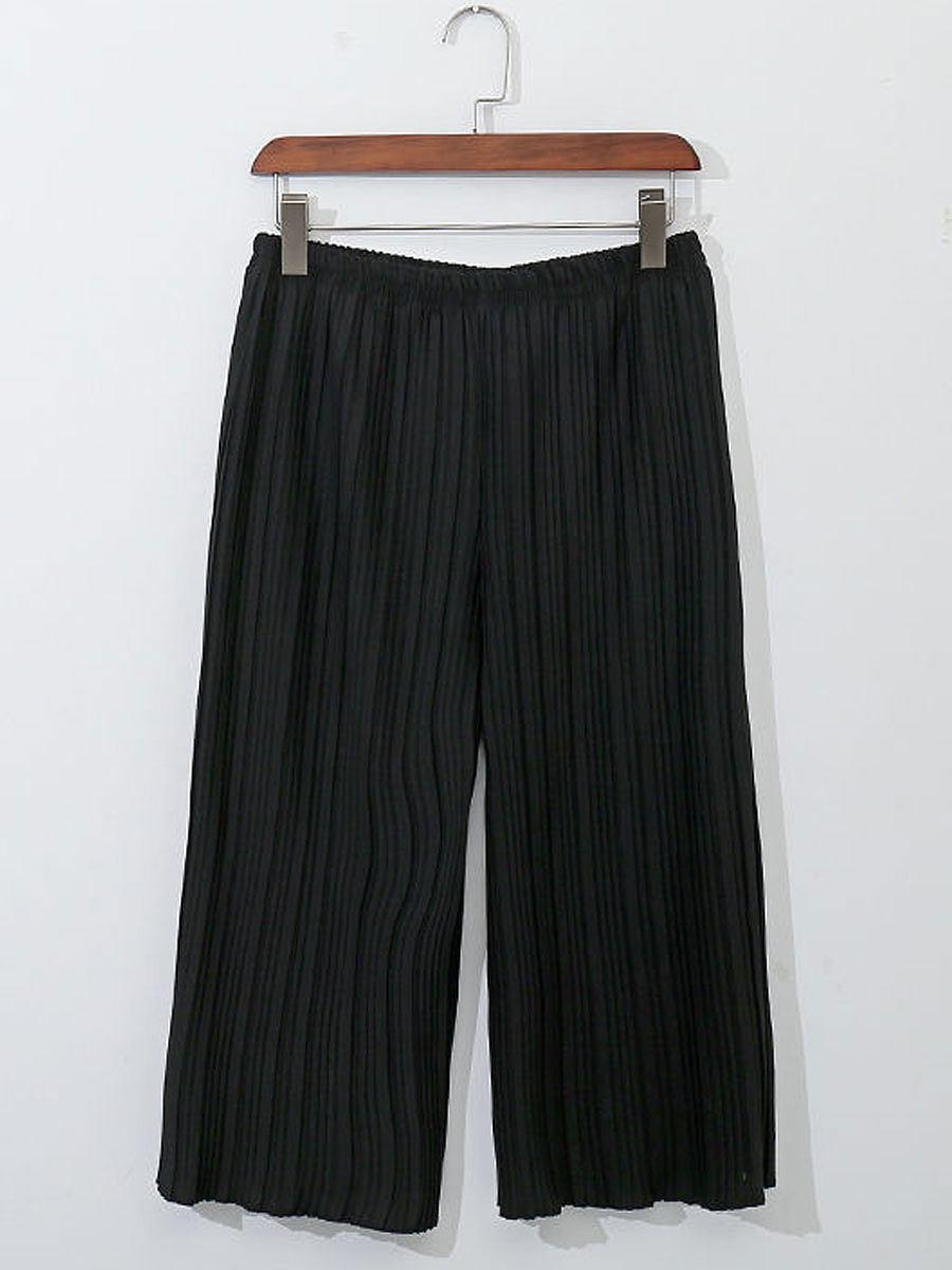 Plain  Mid-Rise Casual Pants
