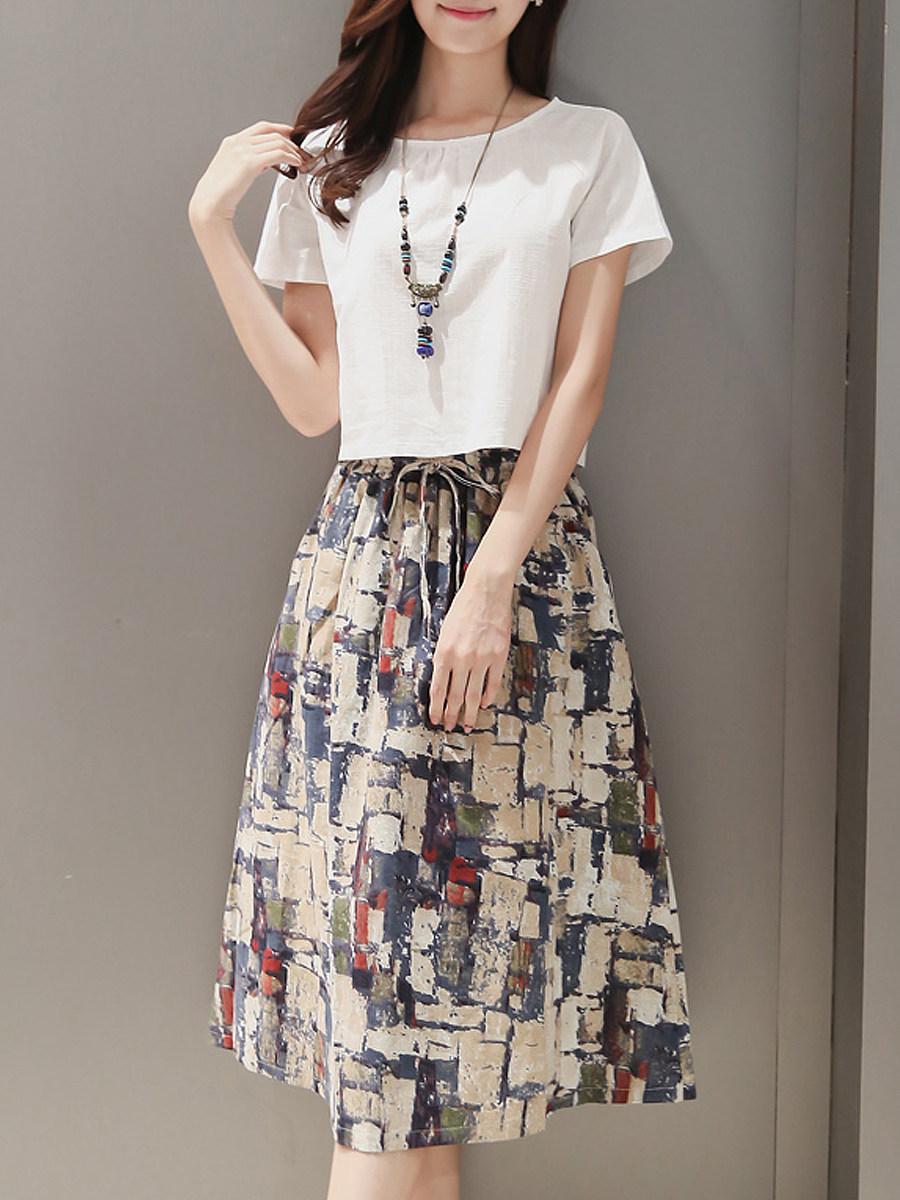 BerryLook Sailor Collar  Patch Pocket  Printed Maxi Dress