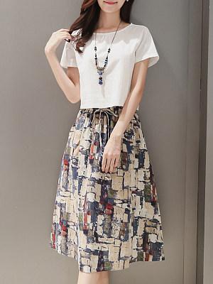 Sailor Collar  Patch Pocket  Printed Maxi Dress