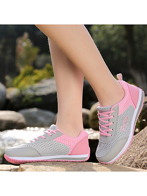 Color Block Flat Criss Cross Round Toe Casual Sport Sneakers фото