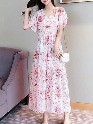 V Neck Floral Printed Bell Sleeve Maxi Dress