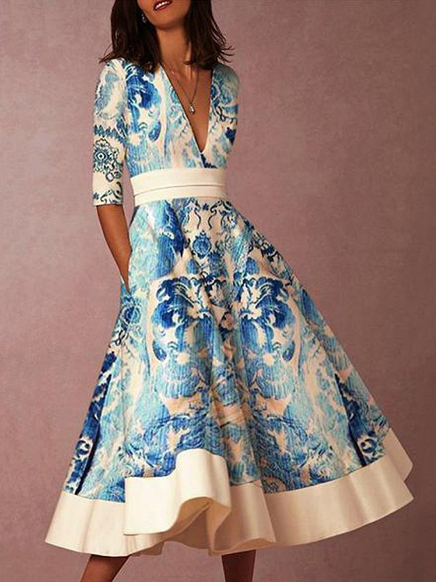 BerryLook V-Neck  Floral Printed Skater Dress